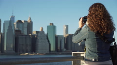 Woman with camera Stock Footage