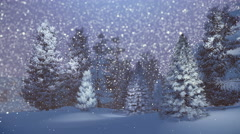 Magical night in a snowy spruce forest - stock footage