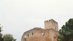 Outside take on rainy day Knights of the Templar (Convents of Christ) castle - stock footage
