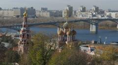 Russia. Novgorod - 2015: 4K V Church, Kremlin walls and buildings Stock Footage
