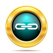Link icon. Internet button on white background.. - stock illustration