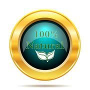 100 percent natural icon. Internet button on white background.. - stock illustration