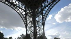 View of one of the Eiffel Tower's pillars, Paris Stock Footage