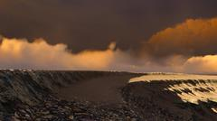 Volcanic landscape panorama Stock Illustration