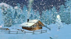 Cozy timber hut in mountains at snowfall night Stock Footage