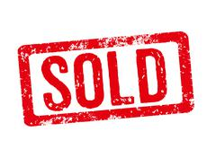 Red stamp on a white background - Sold Stock Illustration