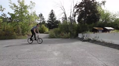 extreme bmx rider icepick grind - stock footage