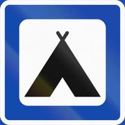 Norwegian service road sign - Camping place - stock illustration