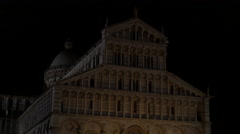 The Cathedral of Pisa seen at night Stock Footage