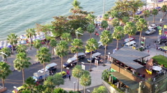 Pattaya beach front overhead view Stock Footage