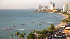 Pattaya beach front towards Nacklua hotel towers ocean skyline Stock Footage