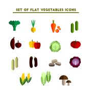 Stock Illustration of set of color vector flat icon vegetable