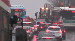 Road construction traffic jam and gridlock Toronto Stock Footage