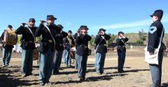 Blue & Grey Civil War Re-enactment Military Band 3 Stock Footage