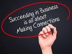 Hand writing Succeeding in Business is all about Making Connections - stock photo