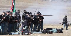 Blue & Grey Civil War Re-enactment Union Soldiers Firing Stock Footage