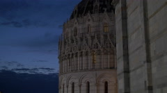 The beautiful Baptistery of St John seen in the evening, Pisa Stock Footage