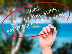 Stock Photo of Hand writing Brand strategy, logo, identity, advertising, marketing, design