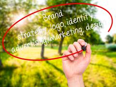 Hand writing Brand strategy, logo, identity, advertising, marketing, design - stock photo
