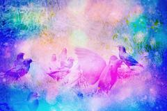 Dreamy garden scene with starling birds on the grass Stock Illustration