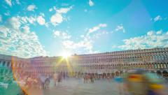 8K VENICE, ITALY - CIRCA 2015: Time-lapse pan of Saint Mark's Square in Venice. Stock Footage