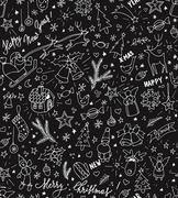Sketchy doodle winter Christmas and New Year pattern, blackboard - stock illustration
