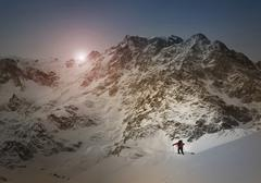 Caucasian skier on Monte Rosa slope, Piedmont, Italy Stock Photos