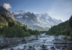 Mont Blanc over remote stream, Courmayeur, Italy Stock Photos