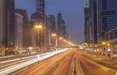 Traffic in Dubai cityscape, Dubai Emirate, United Arab Emirates Stock Photos