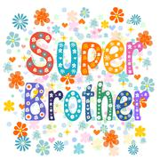 Super brother decorative lettering type - stock illustration