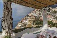 Gazebo overlooking Positano cityscape, Amalfi Peninsula, Italy Stock Photos