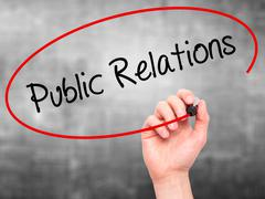Stock Photo of Man Hand writing Public Relations with black marker on visual screen.