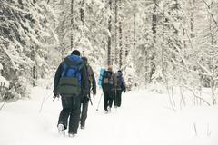 Caucasian hikers walking in snowy forest Stock Photos