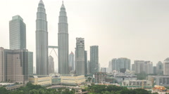 Time lapse footage of cloudy hazy day at Kuala Lumpur City Stock Footage