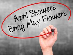 Stock Photo of Man Hand writing April Showers Bring May Flowers with marker on visual screen.