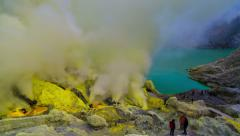 4K Timelapse. The sulfur fumes in the crater of an active volcano Ijen Stock Footage