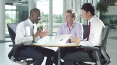 4k Confident male business group in negotiation meeting shake hands on a deal. Stock Footage