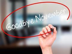 Man Hand writing Goodbye November with black marker on visual screen. - stock photo
