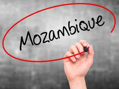 Man Hand writing Mozambique with black marker on visual screen. Stock Photos