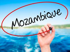 Man Hand writing Mozambique with black marker on visual screen. - stock photo