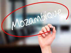 Stock Photo of Man Hand writing Mozambique with black marker on visual screen.