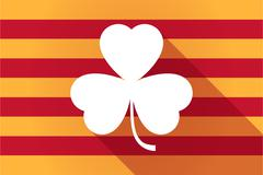 Long shadow Catalonia vector flag with a clover Stock Illustration