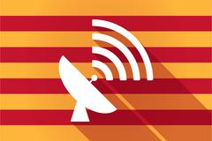 Long shadow Catalonia vector flag with a satellite dish - stock illustration