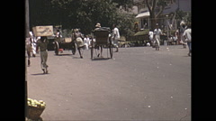 Vintage 16mm film, 1970, Ceylon, market street, people Stock Footage