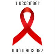 Aids world day red ribbon symbol - stock illustration