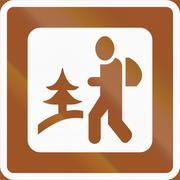 Norwegian service road sign - Hike route - stock illustration