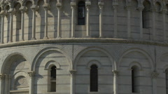 Stock Video Footage of The Baptistery of St John with Romanesque and Gothic style arches in Pisa