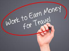 Stock Photo of Man Hand writing Work to Earn Money for Travel with marker on visual screen