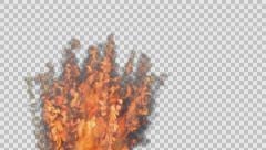 Animted burst of fire stream against transparent background  Stock Footage