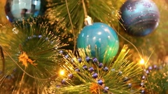 Christmas and New Year Decoration. Christmas ball hanging on a Christmas tree Stock Footage